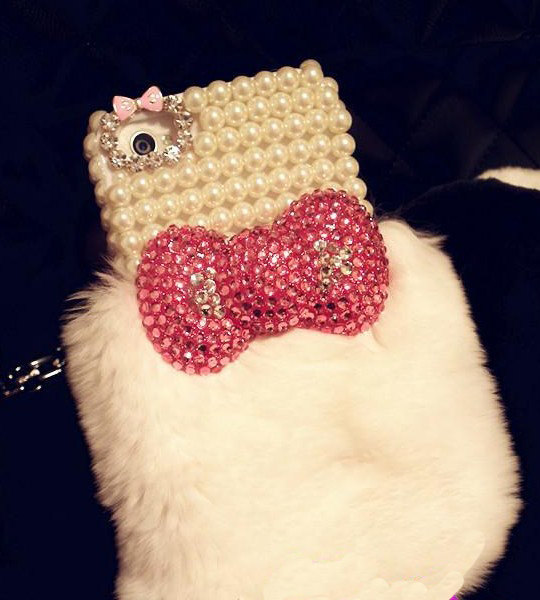 purchase cheap d3ade e37c3 Cute Fluffy Dress Rabbit Fur Iphone Case 4 4S With Pearl Bowtie