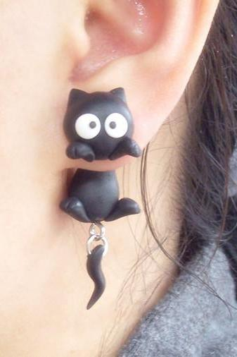 Handmade Polymer Two-Part Cat Earrings