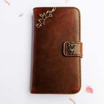 Samsung Note 2 wallet case- Floral phone case - Samsung Note 2 leather - Samsung note 2 card case - Brown Samsung Note 2 case cover Handmade